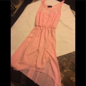 Pink/ peach high/low dress.